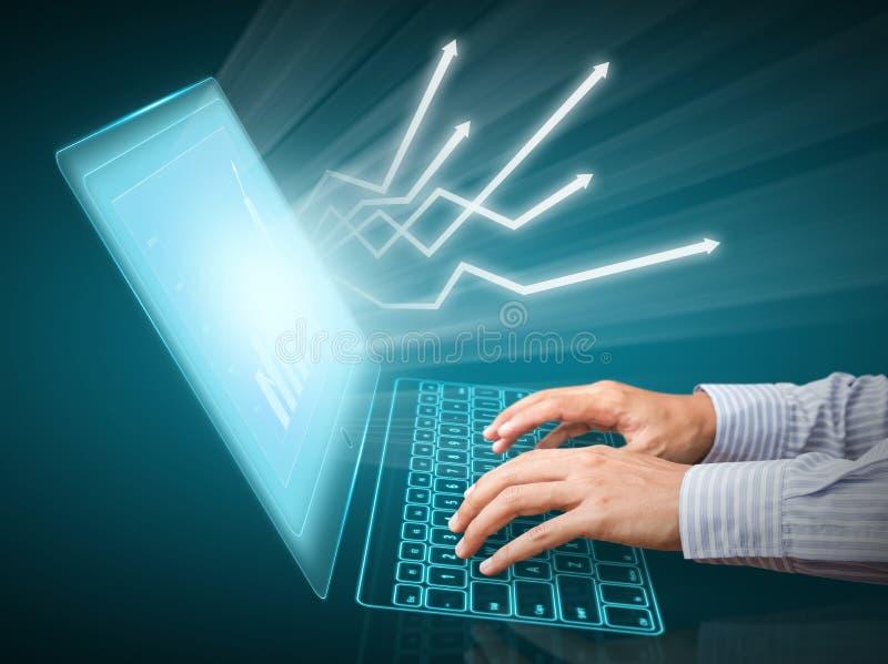 Grafieken op het computerscherm stock afbeeldingen