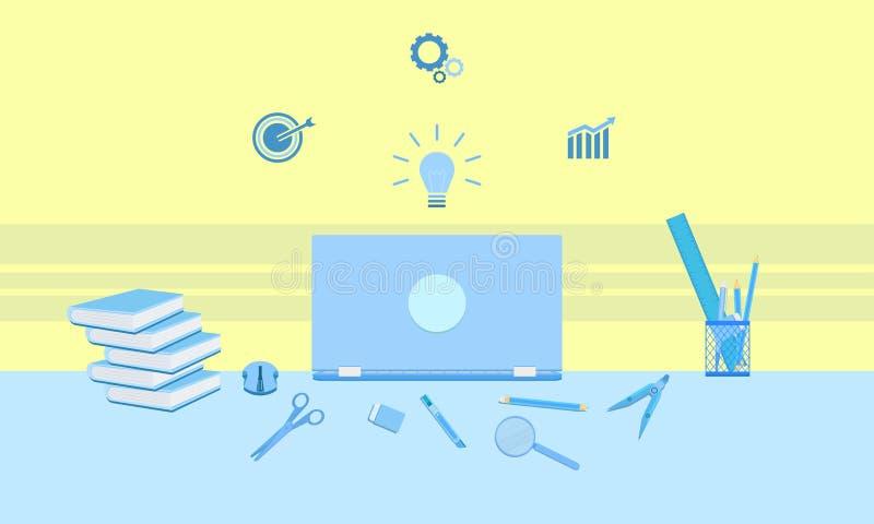 Grafieken van het configdoel van bedrijfs marketing conceptenideeën boeken de infographic met notitieboekje van de het glasgom va vector illustratie