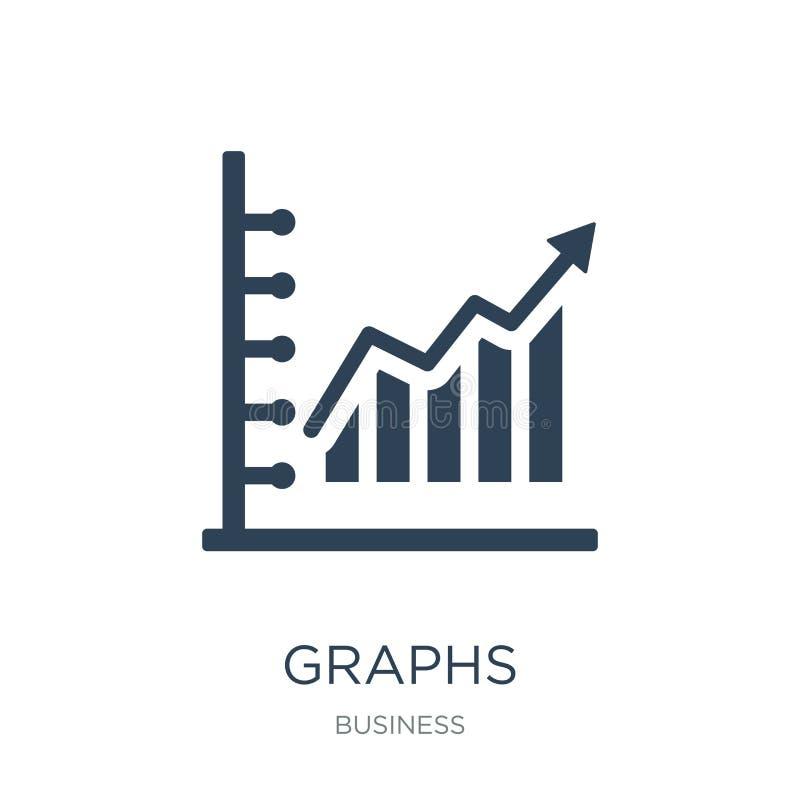 grafiekenpictogram in in ontwerpstijl grafiekenpictogram op witte achtergrond wordt geïsoleerd die eenvoudige en moderne vlakke s stock illustratie