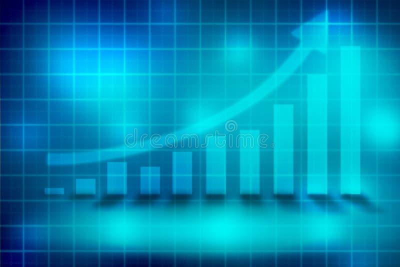 Grafiekgeld op blauwe abstracte achtergrond royalty-vrije illustratie