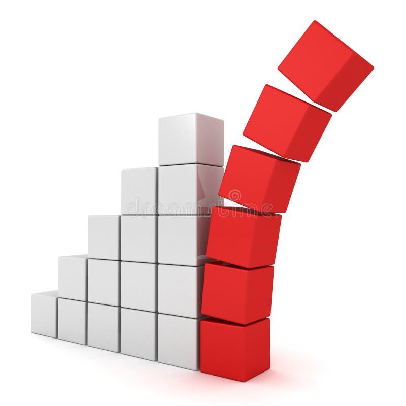 Grafiekgrafiek met de dalende blokken van de rode bovenkantleider vector illustratie