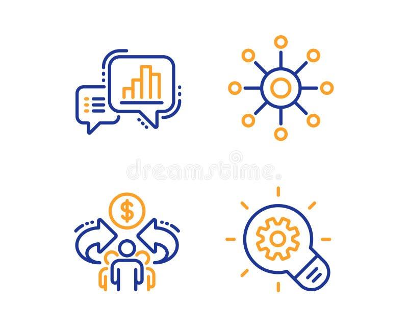 Grafiekgrafiek, Met meerdere kanalen en Delend geplaatste economiepictogrammen Tandradteken De groeirapport, Multitasking, Aandee stock illustratie
