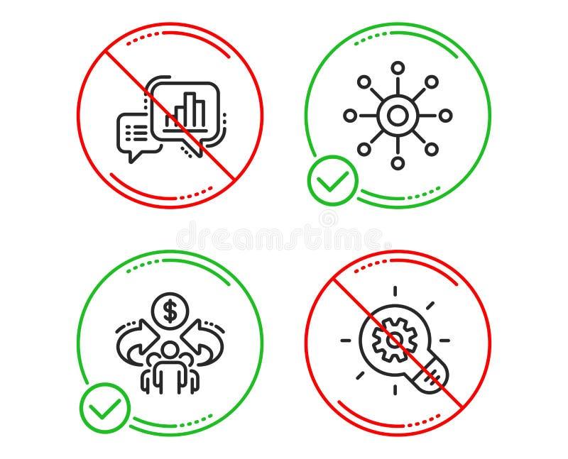 Grafiekgrafiek, Met meerdere kanalen en Delend geplaatste economiepictogrammen Tandradteken De groeirapport, Multitasking, Aandee royalty-vrije illustratie