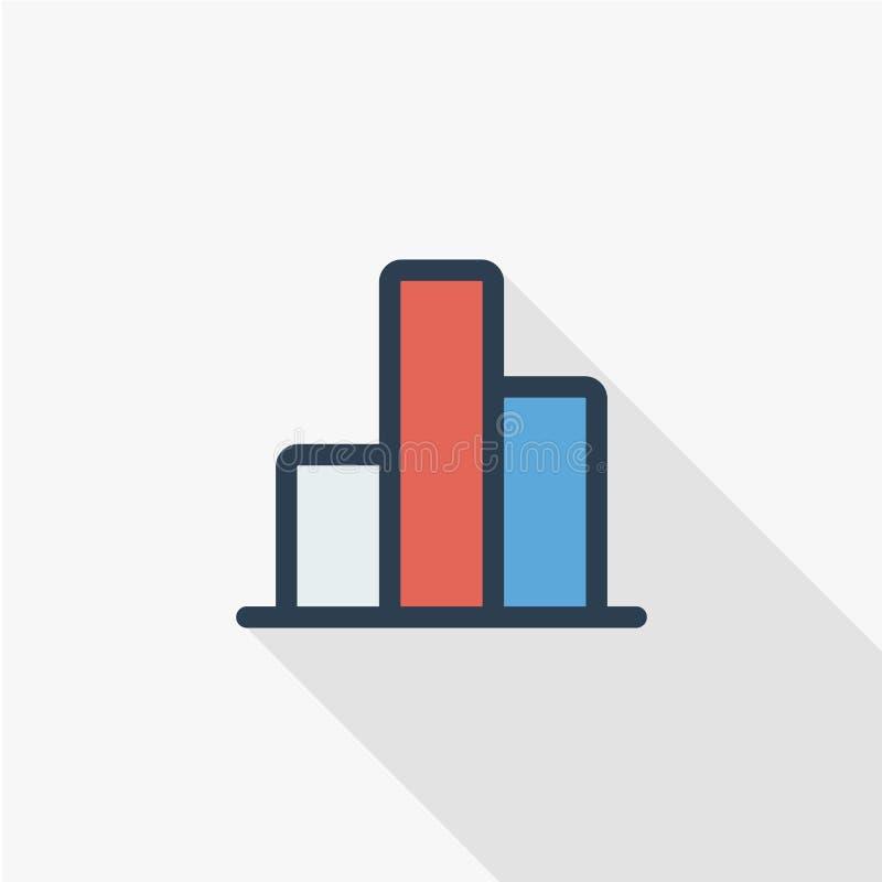 Grafiekgrafiek, pictogram van de de lijn vlakke kleur van het statistiekdiagram het dunne Lineair vectorsymbool Kleurrijk lang sc stock illustratie
