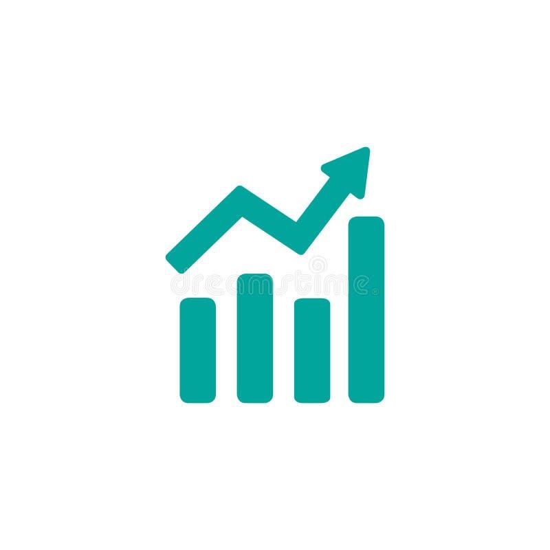 Grafiekpictogram in in vlakke die stijl op witte achtergrond wordt geïsoleerd Het symbool van de grafiekbar voor uw websiteontwer vector illustratie