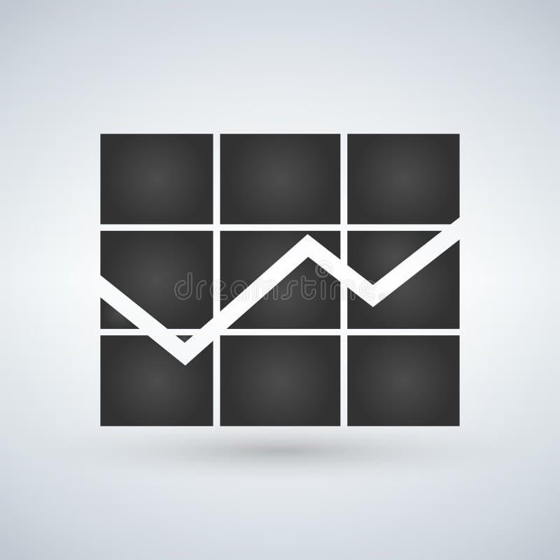Grafiekpictogram in in vlakke die stijl op witte achtergrond wordt geïsoleerd Het symbool van de grafiekbar voor websiteontwerp,  stock illustratie