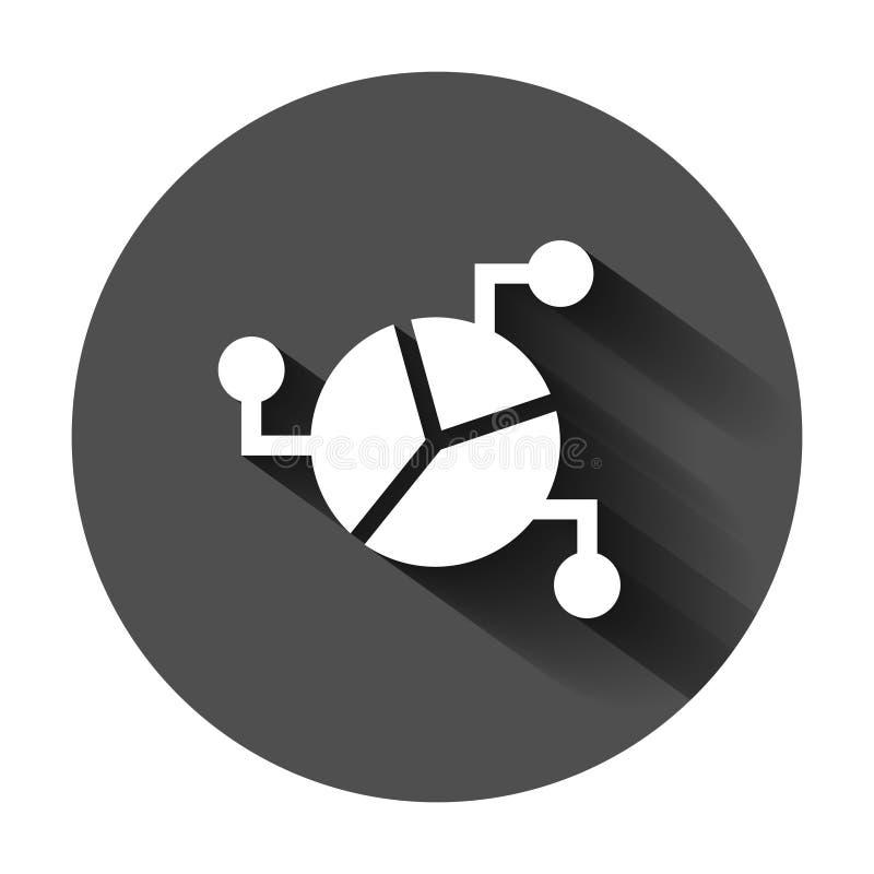 Grafiekpictogram in vlakke stijl Diagram vectorillustratie op zwarte ronde achtergrond met lange schaduw Statistieken Bedrijfscon royalty-vrije illustratie