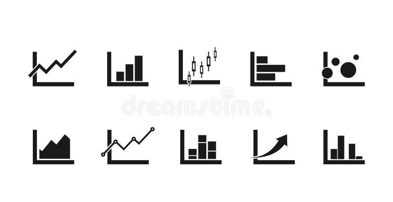 Grafiekpictogrammen voor infographic behoeften worden geplaatst die bar, lijn, gebieden en de tekens van de kandelaargrafiek vector illustratie