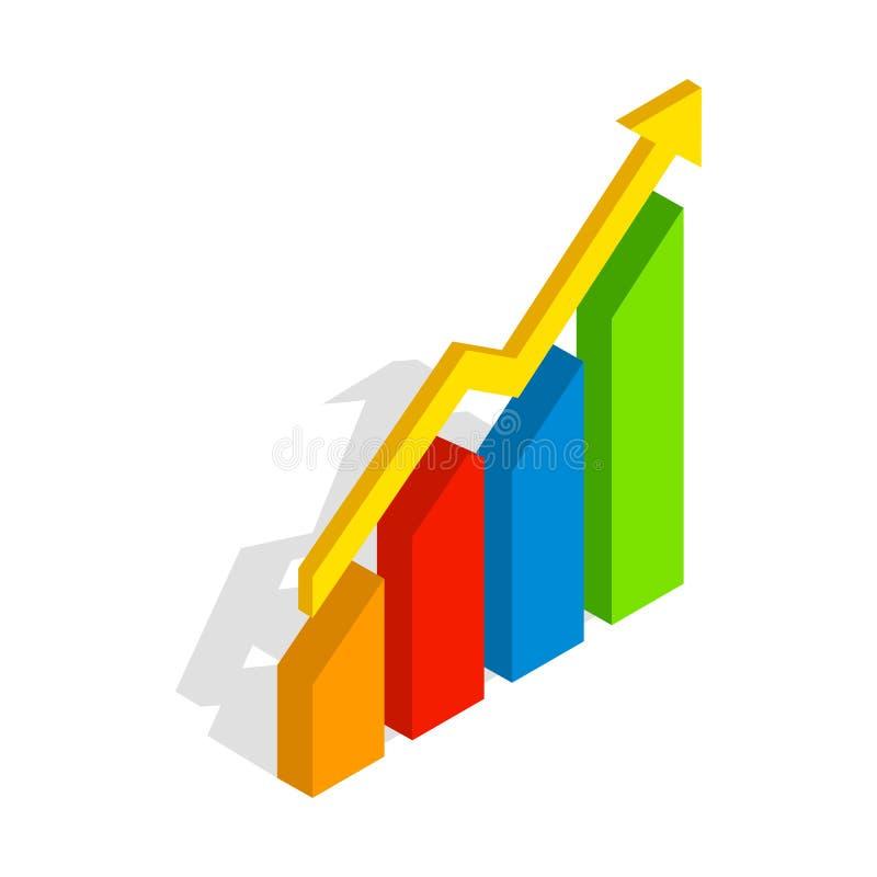 Grafiekpijl op pictogram, isometrische 3d stijl stock illustratie