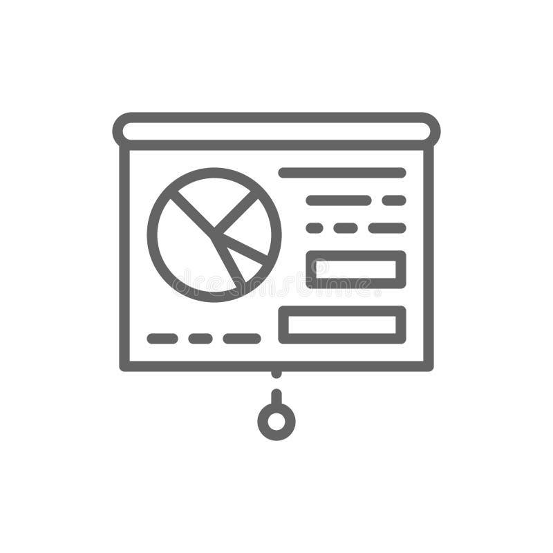 Grafiekpresentatie, whiteboard, opleiding, het pictogram van de aanplakbordlijn stock illustratie