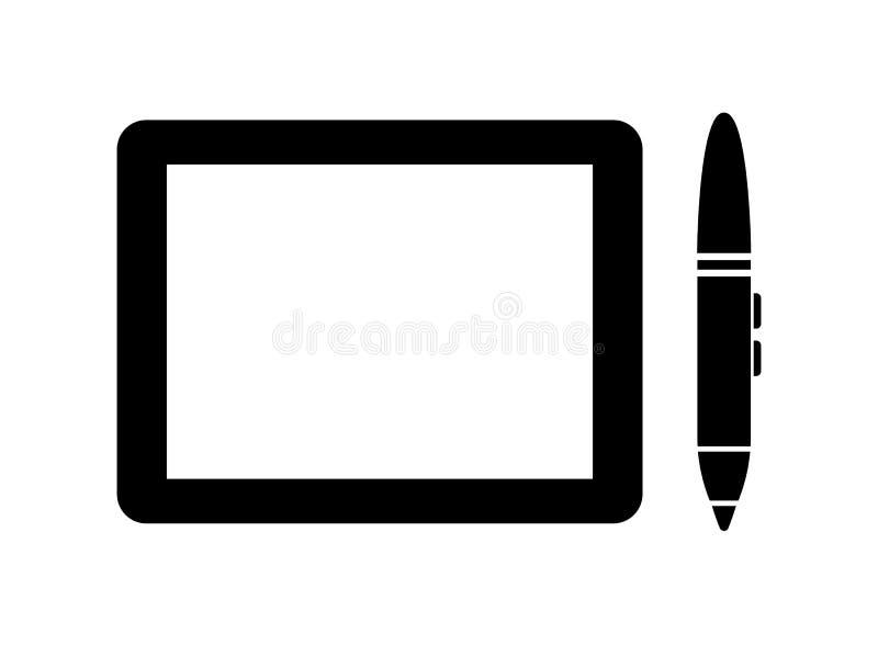 Grafiektablet en pen vectorpictogram stock illustratie