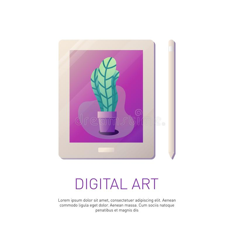 Grafiektablet en potlood stock illustratie