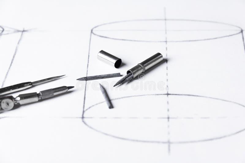 Grafiet voor kompassen - technische tekening royalty-vrije stock afbeelding