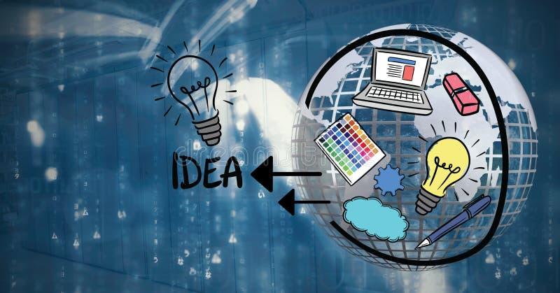 Grafik über Idee mit Erde 3D und technologischem Hintergrund lizenzfreie abbildung