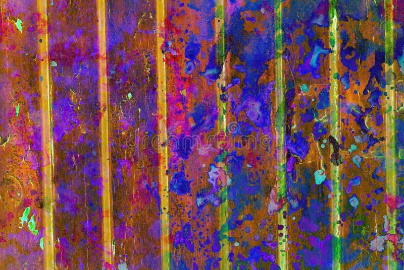 Grafik der gemischten Medien, bunte künstlerische gemalte Schicht der Zusammenfassung in Dunkelbraunem, blau, Rosa, gelbe Farbpal stockfotografie