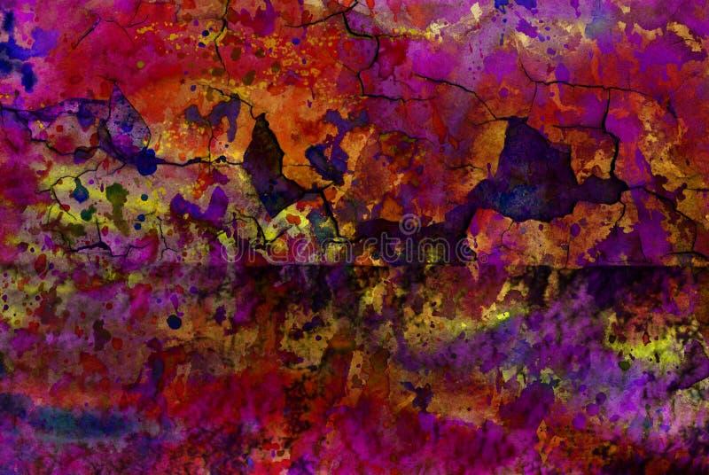Grafik der gemischten Medien, bunte künstlerische gemalte Schicht der Zusammenfassung in der dunkelroten Farbpalette auf gebroche lizenzfreie stockbilder