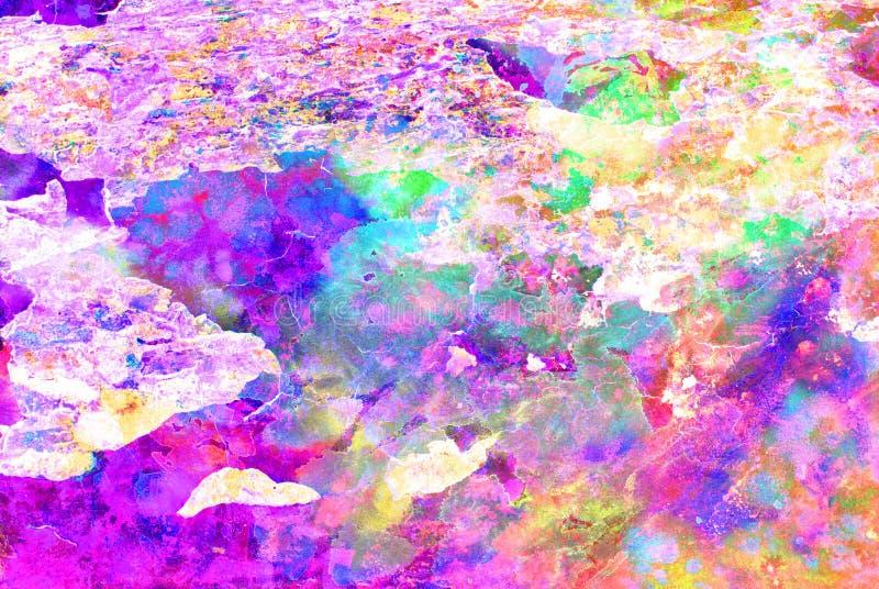 Grafik der gemischten Medien, bunte künstlerische gemalte Schicht der Zusammenfassung im Rosa, purpurrote Farbpalette auf Schmutz stockfotos