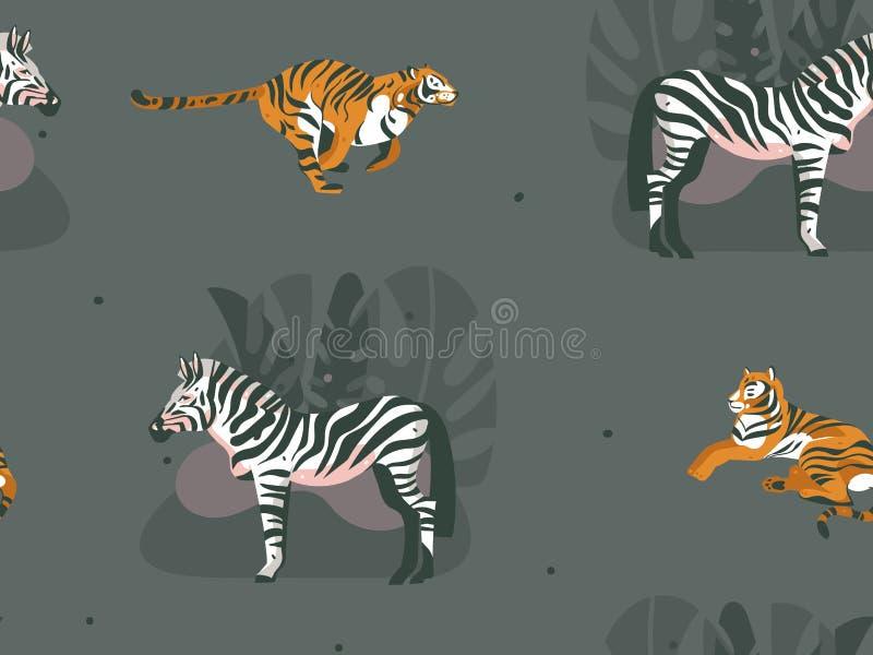 Grafik der Handnahtloses Muster der gezogenen Vektorzusammenfassung modernen afrikanischen Illustrationskunst-Collage Safari Natu vektor abbildung