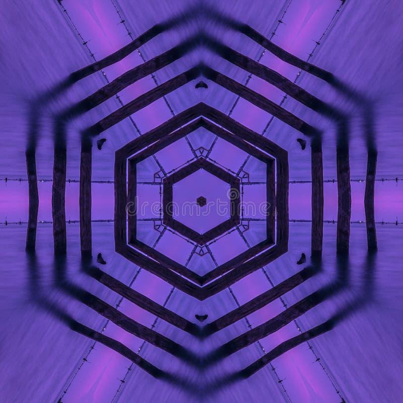 Grafik-Kaleidoskoptapete der violetten Hexagonzusammenfassung konzentrische stock abbildung