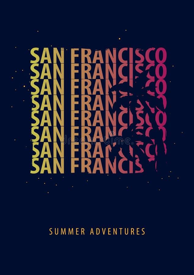 Grafik Sans Francisco Summer mit Palmen T-Shirt Design und Druck stock abbildung