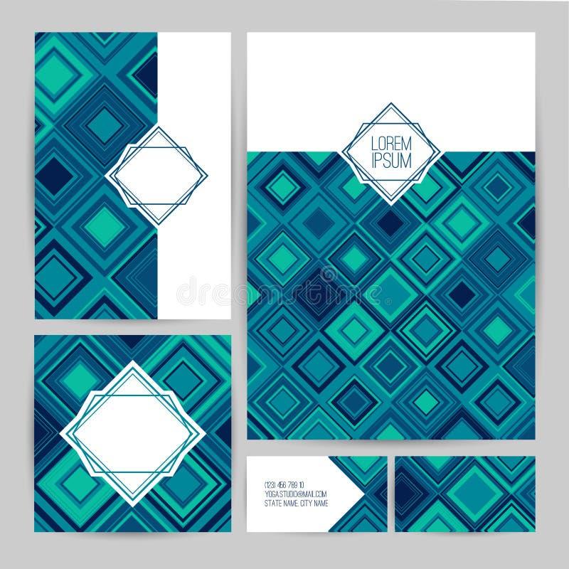 grafika biznesowy korporacyjnej tożsamości szablonu wektor Ustawia ulotki, wizytówki, broszury, odznaka szablon Szablonu projekt  royalty ilustracja