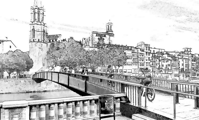 Grafika czarny i biały rysunkowy Brige Katedralna ilustracja ilustracja wektor