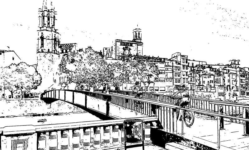 Grafika czarny i biały rysunkowy Brige Katedralny wektor royalty ilustracja