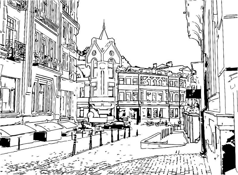Grafika czarny i biały rysunkowy Wektorowy miastowy krajobrazowy atrament Kijów ilustracja wektor