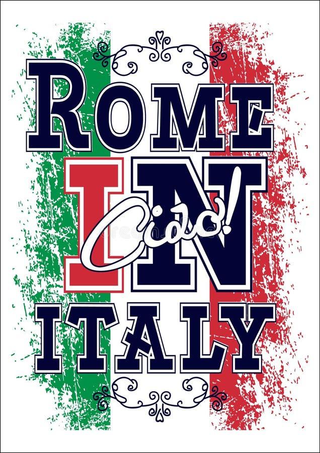 Grafika dla koszulki, Italy wektorowy druk royalty ilustracja