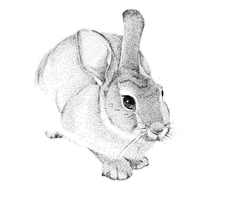 Grafika handmade królik royalty ilustracja
