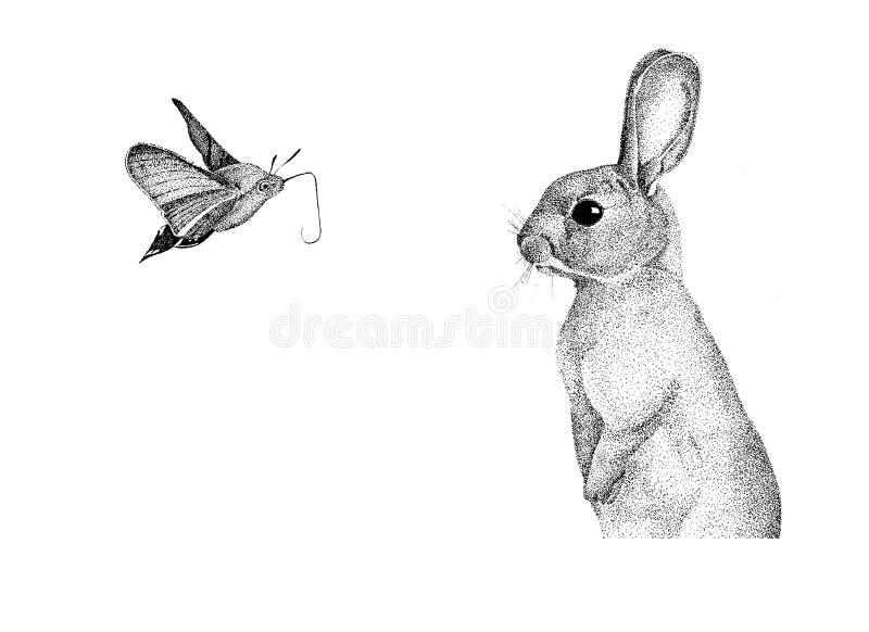 Grafika handmade królik ilustracji