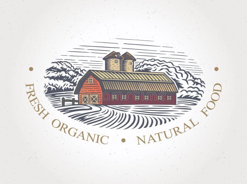 Grafika krajobraz z gospodarstwem rolnym royalty ilustracja