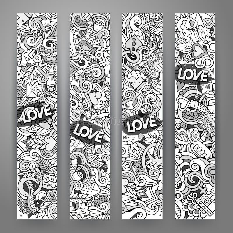 Grafika miłości i walentynek wektorowy pociągany ręcznie Doodle ilustracja wektor