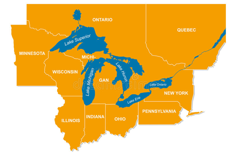 Grafika Północnoamerykańscy wielcy jeziora i ich sąsiedni stany ilustracja wektor