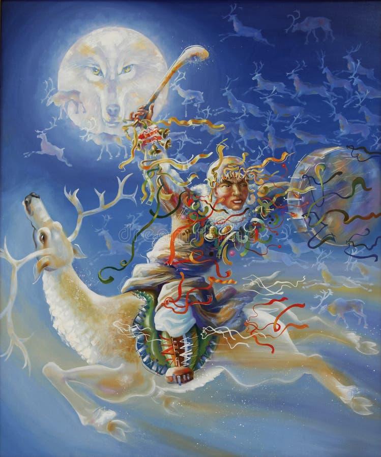 grafika Północny szaman Autor: Nikolay Sivenkov royalty ilustracja