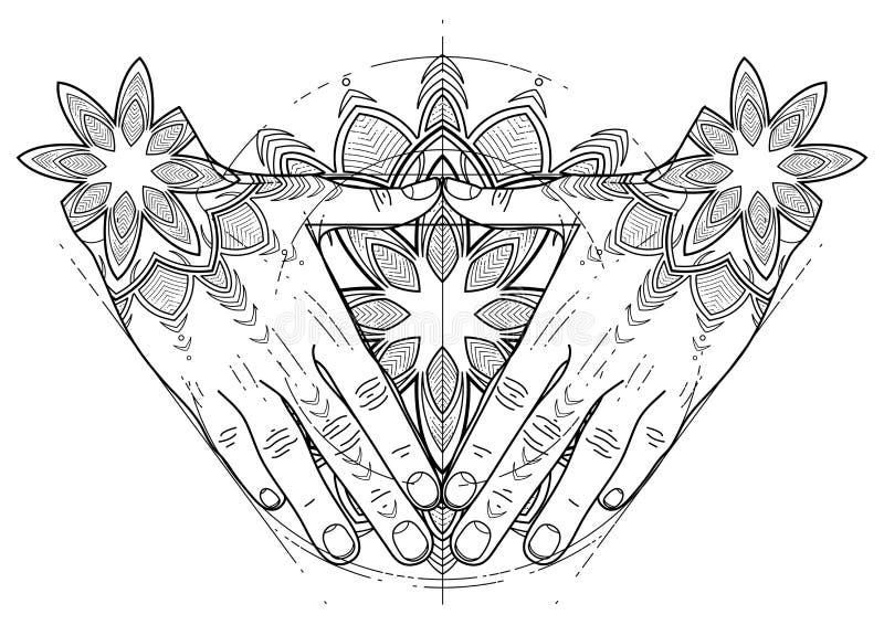 Grafika ręki w formie trójboka ilustracji