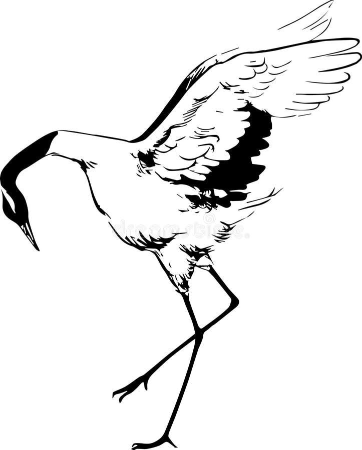 Grafika rysujący żuraw royalty ilustracja