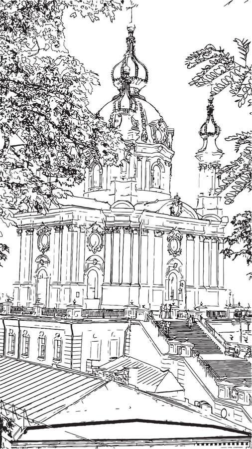 Grafika rysunku St Andrew ` s kościół czarny i biały illustratio ilustracja wektor