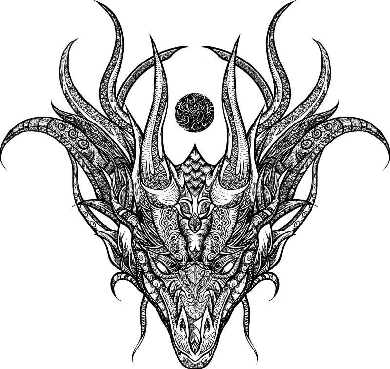 Grafika smoka kierowniczy ornament royalty ilustracja