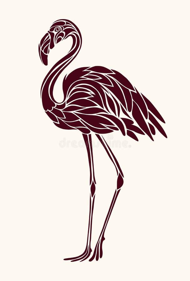Grafika, stylizowany rysunek flamingi royalty ilustracja