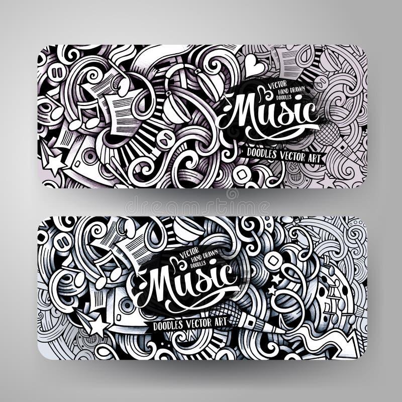 Grafika szkicowego śladu Doodle wektorowa ręka rysujący Muzyczni sztandary royalty ilustracja