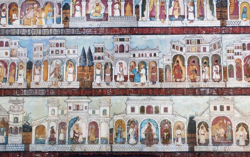 Grafika z sceną sułtanu życie na malującej ścianie sławny Daria Daulat pałac zdjęcie stock