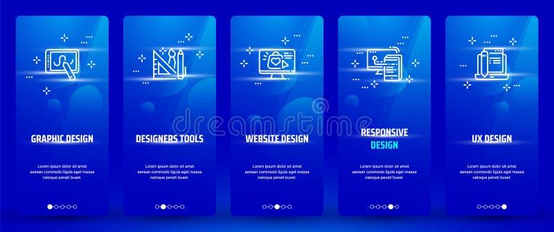 Grafikdesign, Designerwerkzeuge, Websitedesign, entgegenkommendes Design, UX-Design vertikale Karten mit starken Metaphern lizenzfreie abbildung