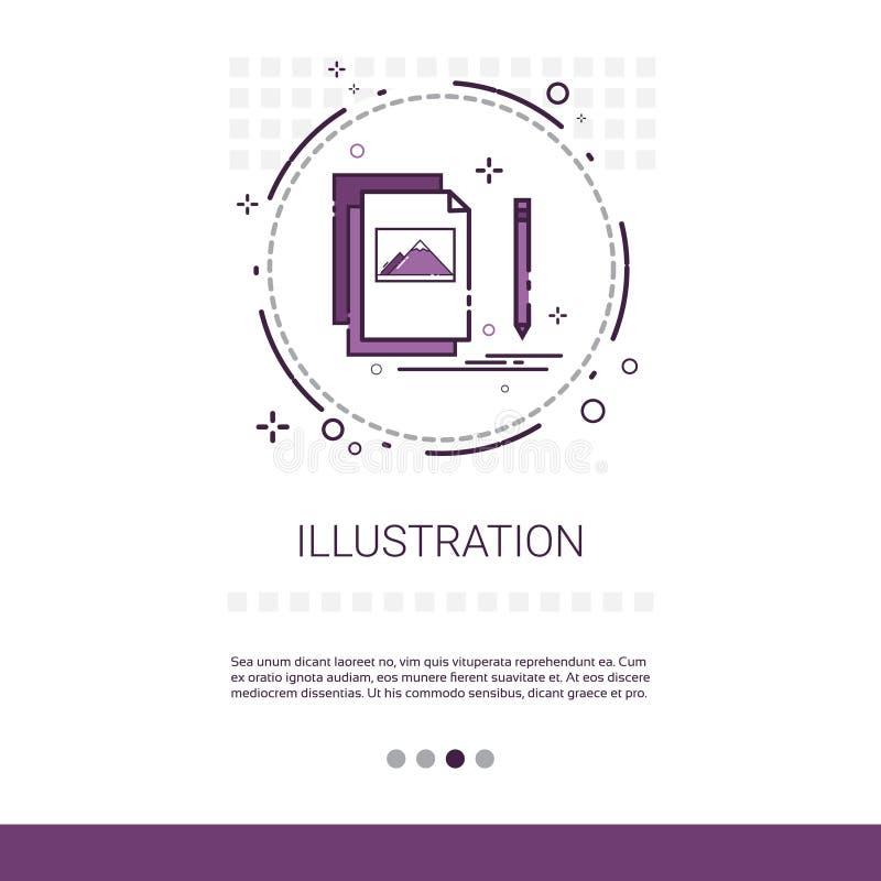 Grafikdesign-Illustrations-Entwicklungs-Computer-Programmierungstechnologie-Fahne mit Kopien-Raum lizenzfreie abbildung