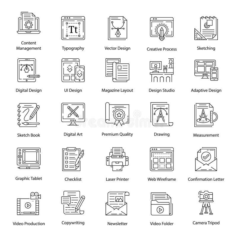 Grafikdesign-Vektorpaket im Zeilenstil lizenzfreie abbildung