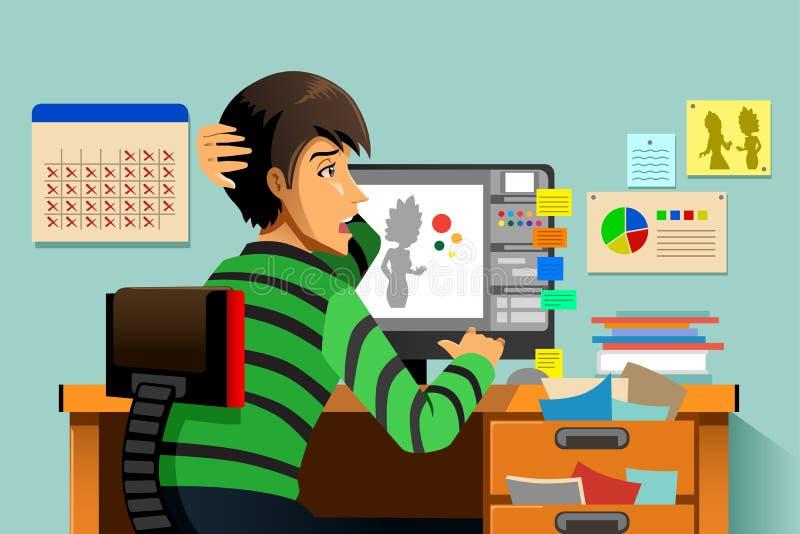 Grafikdesigner, der an seinem Computer arbeitet lizenzfreie abbildung