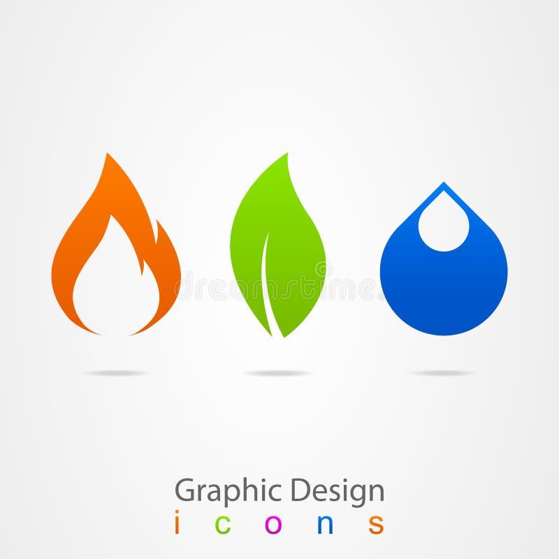 Grafikdesigntropfenblatt-Flammenlogo stock abbildung
