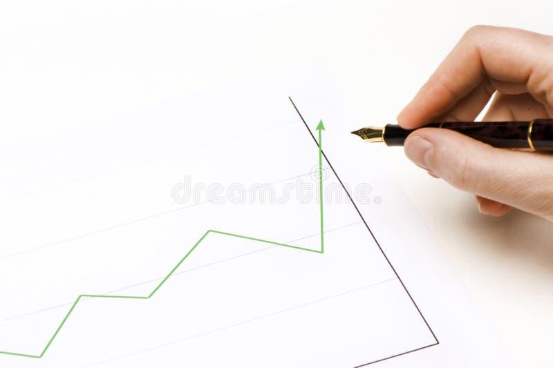 Grafiken grünes lign, das steigt stockfotografie