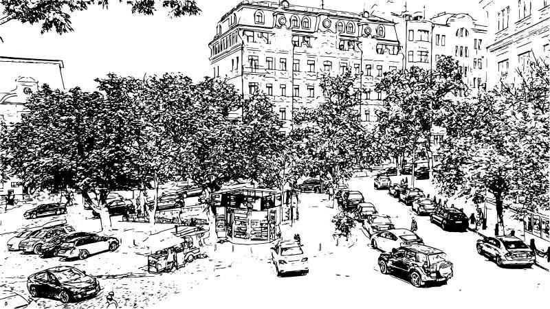 Grafiki Andrew ` s spadku czarny i biały rysunkowa ilustracja ilustracji