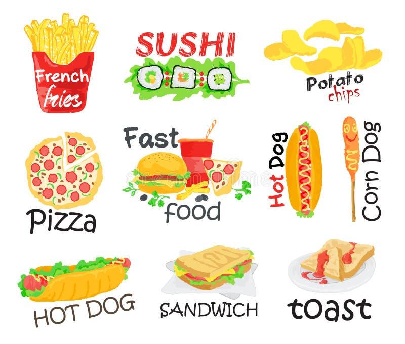 grafiki bąbla psa używać fasta food gradientów hamburgeru gorące warstwy ustalony kanapka żadny tekst używać ilustracji